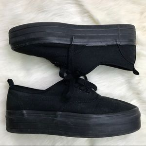 H&M Divided Blacked Out Platform Canvas Sneakers